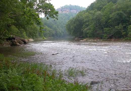 Down the Big South River with Angel Falls Overlook (south).