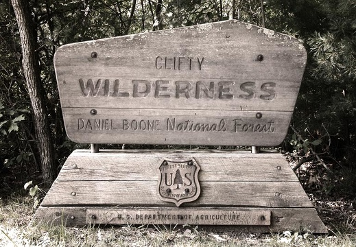 Carved wood sign: Clifty Wilderness Area
