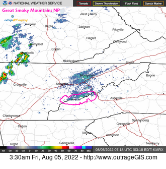 Current doppler radar for the Great Smoky Mountains.