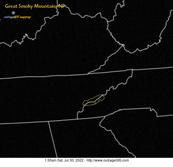 Current visible satellite for the Great Smoky Mountains.