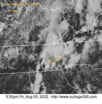 Current weather maps and data for the Great Smokies