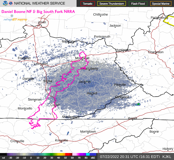 Current doppler radar for the Daniel Boone National Forest.