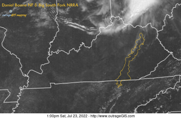 Current visible satellite for the Daniel Boone National Forest.