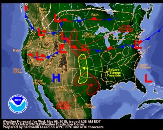 Current forecast map for Today.